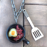Egg and Bacon Necklace - English Breakfast Eggs Spatula Frying Pan Kawaii Polymer Pendant