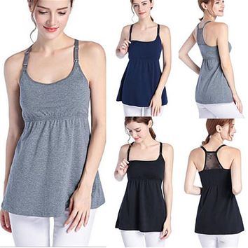 Women Mother Maternity Clothes pregnancy clothes For Breastfeeding Tops Sleeveless Nursing T-shirt Top