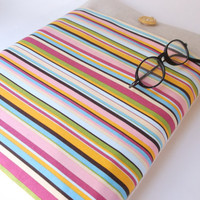 Laptop Sleeve 13 inch Custom Ultrabook Case Cover Padded Charger Cord Pocket Portable Netbook Tablet - Cabana Stripes