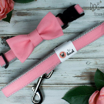 Melon (Light Coral) Dog Collar With Removable Bow Tie or Felt Flower