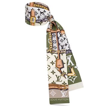 LV 2019 new classic old flower pattern female hair band small scarf Green