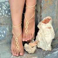 Latte Trio Barefoot Sandals, Crochet Sandals, Sexy Foot Jewelry, Toe Ring, Yoga, Foot Thongs, Nude Shoes, Lace Sandles