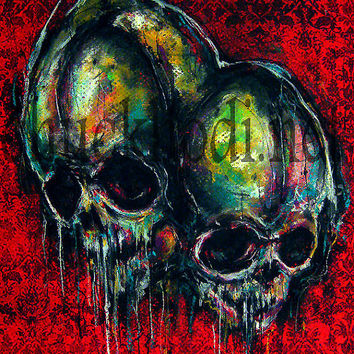 "Print 8x10"" - Two - Skulls Skeletons Dark Art Abstract Surreal Lowbrow Horror Spooky Creepy Taxidermy Gothic Macabre Oddities Pop"