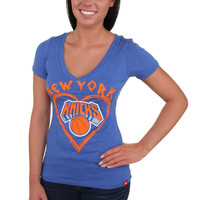 Sportiqe New York Knicks Women's Vintage Je Taime Premium T-Shirt - Light Blue