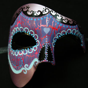 Day of the Dead Masquerade Mask - Dia de los Muertos Mask - Venetian Phantom Style Mask for Men & Women - for Wear and Decoration