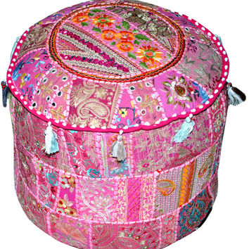 Bohemian Gypsy Patchwork Pouf Ottoman in Pink Vintage Indian pouffe Foot Stool bean bag HANDMADE Ethnic Pouffe Bean Bag Cover floor pillow