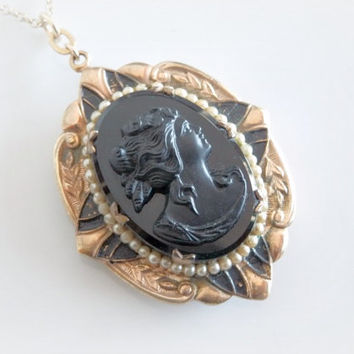 Vintage Cameo Locket Necklace -  Antique Memento Mori Jewelry - Black Cameo Gold Mourning Locket - Long Gothic Cameo Pendant - 24 inches