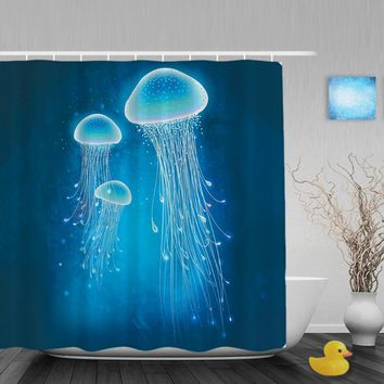 Glowing Jellyfish Underwater Bathroom Shower Curtain Sea Creatures Shower Curtains Waterproof Mildew Polyester Fabric With Hooks