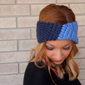 two tone head wrap, crochet head wrap, turban head wrap, ear warmer, crochet headband, turband / THE MAC / Navy and Denim / Berry / Acrylic