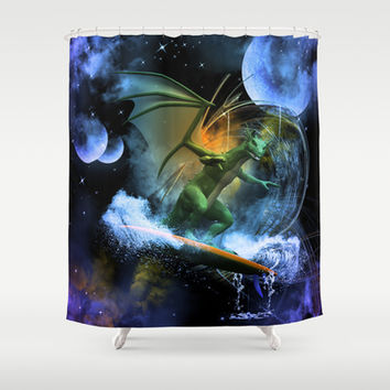 Funny surfing dragon Shower Curtain by nicky2342