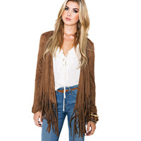 CT108  Casual  Fall  Tassel Fringed Jacket Coat Plus Size Faux Suede Chaquetas Mujer Casaco Feminino Jaqueta