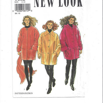 New Look 6112 Pattern for Misses' Coat & Scarf, Sizes 8-18, FACTORY FOLDED, UNCUT, by Simplicity, From 1990s, Vintage Pattern, Home Sewing