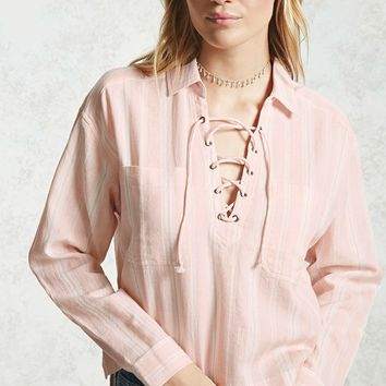 Lace-Up Multi-Stripe Top - Women - 2000238827 - Forever 21 Canada English