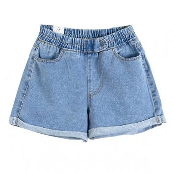 Roll Up Hem Denim Shorts with Elastic High Waist