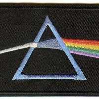 Pink Floyd Iron-On Patch Rectangle Dark Side Logo