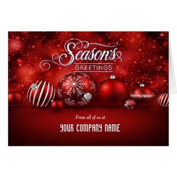Red Bokeh Sparkle Elegance Corporate Folded Card