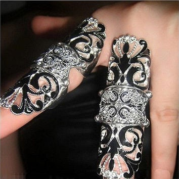 Hot Women Fashion Jewelry Enamel Full Finger Armor Joint Knuckle Hollow Out Ring