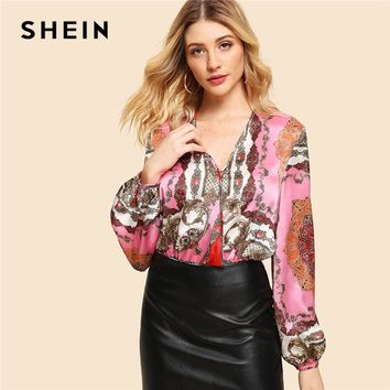 SHEIN Multicolor Weekend Casual Ornate Print Colorblock Cut And Sew V neck Low Waist Bodysuit Summer Women Going Out Bodysuit