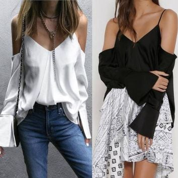 Women Sexy Blouse Cold Shoulder Black White Solid V-neck Backless Beach Casual Tops Ladies Ruffle Top Fashion