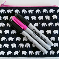 Super Cute Black & White Elephant Zipper Pouch With Lining 100% Cotton