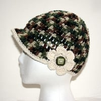 Child's green camo hat Girls newsboy toddler size 1-3 years or 5-Teen green camouflage flower accent