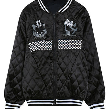 Black Cute Cat And Check Embroidery Quilted Bomber Jacket