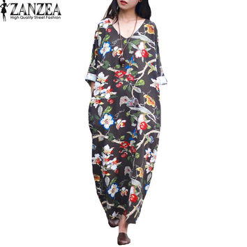 2017 ZANZEA Womens Vintage Floral Print V Neck 3/4 Sleeve Summer Casual Party Loose Cotton Kaftan Dress Long Vestido Plus Size