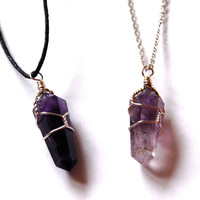 Wire Wrapped Amethyst Point Necklace