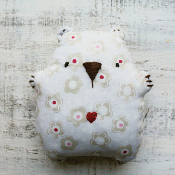 Baby soft toy primitive safe stuffed bear 5' baby shower gift nursery decor grey white pink red floral