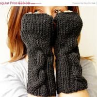 Black Friday Sale Charcoal Dark Fingerless Mittens Gloves Handwarmer Winter Fashion