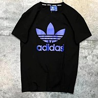 Adidas Popular Women Men Casual Blue Logo Print Short Sleeve Shirt Top Tee Blouse Black