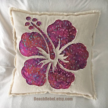 Hibiscus flower pillow cover in fuchsia purple batik and natural distressed denim boho pillow cover 18""