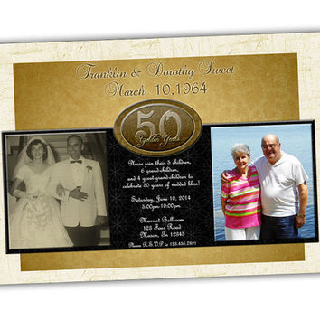 Modern Gold 50th Wedding Anniversary Invitation - 50th Wedding Anniversary Party - 50th Wedding - 50th Party - Then and Now Photo