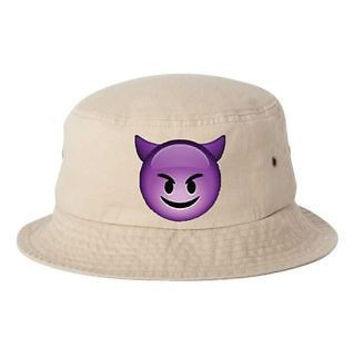 Happy Devil Emoji Bucket Cap Hat
