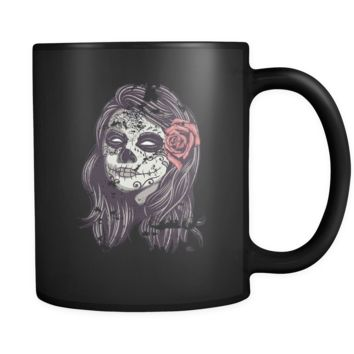 Funny mug Sugar skull lady Mug 11oz Black