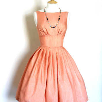 Coral Cotton Dupion Tiffany Prom Dress - Made by Dig For Victory