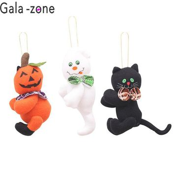 Gale-zone Halloween Doll Pendant Party Plush Dolls Pumpkin Ghost Cat Tree Hanging Ornaments Home Hang Gifts Car DIY Pendant