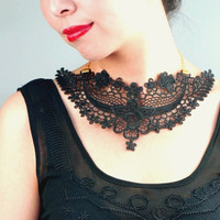 large black lace bib choker necklace - hand dyed - gothic beaded statement  fabric jewelry gift