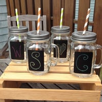 Set of 4 Mason Jar Drinking Mugs with Chalkboard Labels