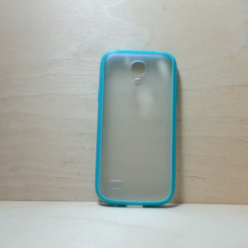 Samsung Galaxy S4 (Mini) Case Silicone Bumper and Translucent Frosted Hard Plastic Back - Turquoise