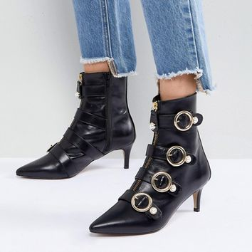 Carvela Sparky Pearl Detail Leather Kitten Heel Ankle Boots at asos.com
