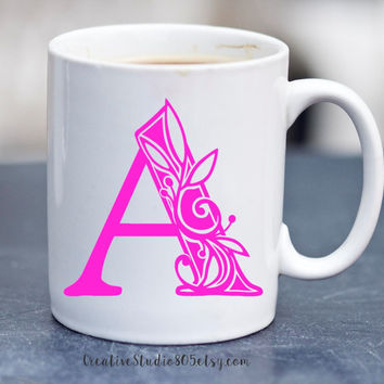 VINE MONOGRAM - coffee mug - cute coffee cups - unique coffee mug - personalized coffee mug - monogram coffee cup