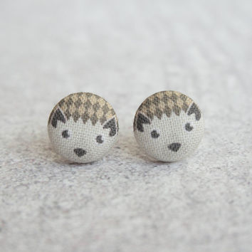 Hedgehog Fabric Covered Button Earrings