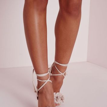 Missguided - Tassel Detail Barely There Heeled Sandals Nude