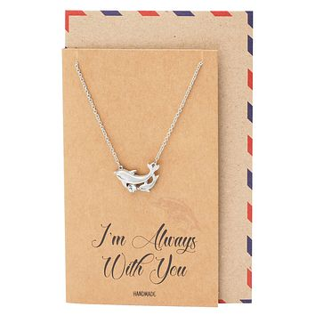 Dazzle Mother Daughter Necklace Dolphin Pendant I'm Always With You Jewelry Greeting Card
