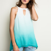 Ombre Keyhole Tank Top