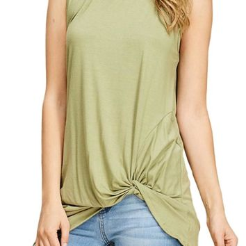Front Knot Sleeveless Tunic Top
