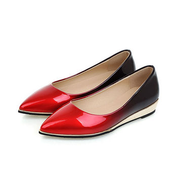 Shoes Women Pumps Metalic Low Heel Wedge Pointed Toe PU Patent Leather Heeled Casual Red Spring Autumn Sexy Female Ladies Shoes