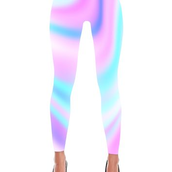 Pink And Blue Hologram Printed Leggings