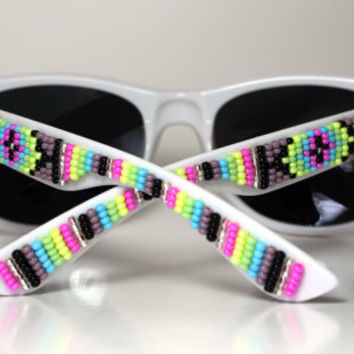 Beaded Sunglasses White and Purple
